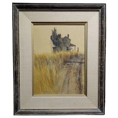Frank Moss Hamilton-The Rural Route - painting  Watercolor on cardboard -Signed