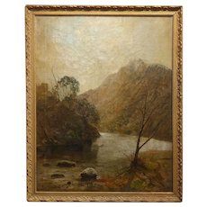 19th century River running through a canyon Landscape-Oil painting