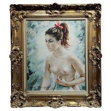 Igor Talwinski -Portrait of a Nude Girl w/a Red Ribbon -Oil painting