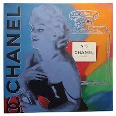 Steve Kaufman - Marilyn & Channel N5 - Pop Art Painting on canvas