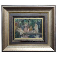 Walter Geffcken -Group of Women Bathing-19th century impressionist Oil painting