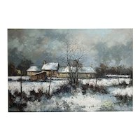 Aldo Luongo - Cottage in a Winter countryside Landscape - Oil painting