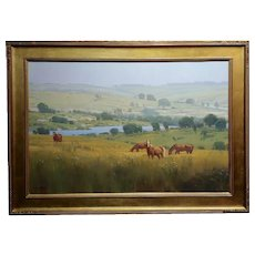 Michael Albrechtsen -Horses in a Meadow in a beautiful Summer day-Oil painting