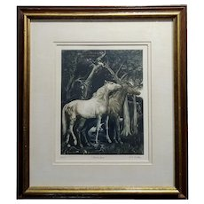 G.H. Rothe - pair of Horses in Love - beautiful Color Mezzotint -Pencil Signed