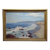 Edward Willis Hicks - Beautiful San Simeon Seascape -California Oil panting