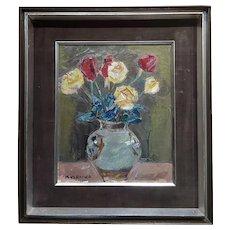 Masao Naraoka -Red & Yellow Roses in Still life - Oil painting