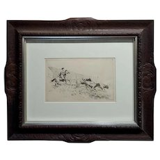 Edward Borein -Cowboy rounding up Cattle -1930s Etching