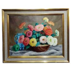 Frode Nielsen Dann - Still Life of Beautiful Dahlias -1942 Oil Painting on canvas