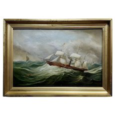 Military Sail & Steamboat in choppy waters -19th century Oil painting