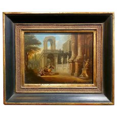 18th century Beautiful oil painting on Copper - Italian Capriccio  oil painting on copper