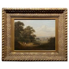 19th century enchanting Pastoral Landscape -Oil painting-English School c1860s