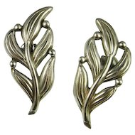 Leaf Earrings Silver 925 Hand Made Leaves Mexican Vintage Taxco Retro Fine Sterling Silver Modernist Earrings Stud Classic Handmade Unique Vintage 1980s