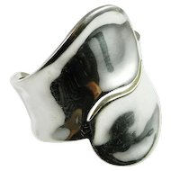 Modernist Sterling Silver Cuff Bangle Bracelet 925 Timeless Handmade Swirl One of a Kind Minimalist 1950s 1960s 1970s Modern Retro Estate Unique Fine