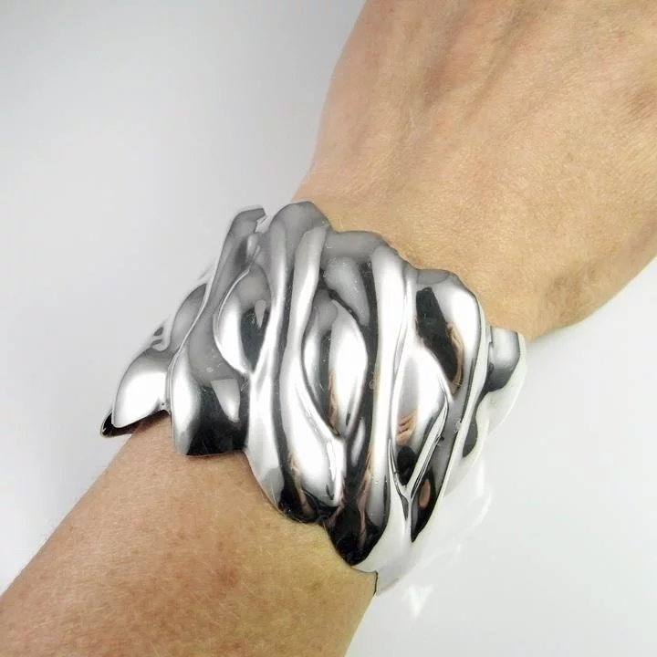 c24ef8996a755 Wide Sterling Silver Cuff Bangle Bracelet 925 Chunky Statement Jewelry  1970s Handmade Repousse Wave Design Unique One of a Kind Mexican Jewelry