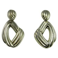 Modernist Sterling Silver Drop Earrings Mexican Silver Mid Century 925 Handmade Chunky Statement Minimalist 1960s 1970s Space Age Unique One of a Kind
