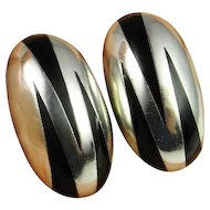 Sterling Silver Button Earrings 925 Clip On Ear Clips Onyx Inlay Earrings Dome Chunky Statement Mexican Silver Modernist Minimalist Zebra Abstract Tribal 1980s Fine Vintage Unique One of a Kind Handmade