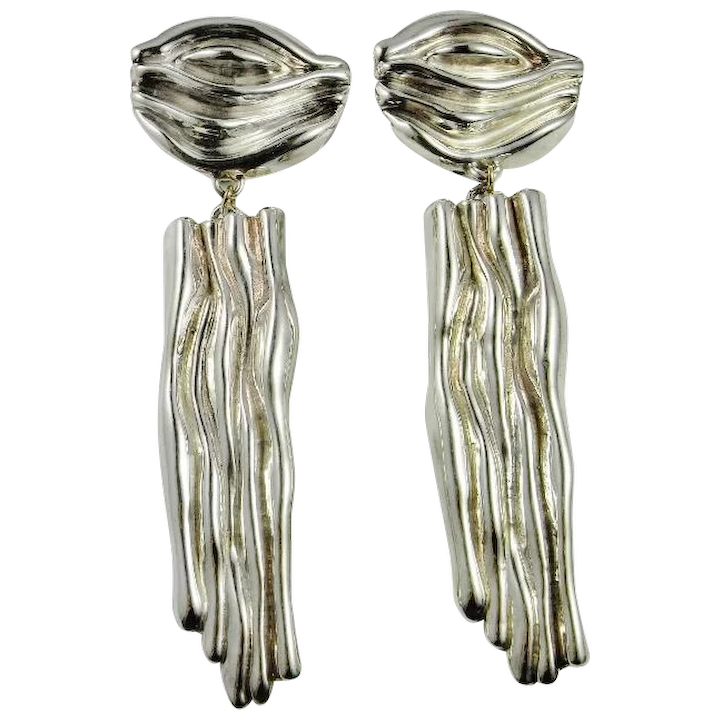 Impressive Solid 925 Sterling Silver Leaf Drop French Clip Earrings Elegant Gently Charming Beautiful Incredible Handmade Handcrafted Design