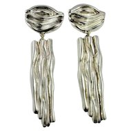 Chunky Statement Sterling Silver Earrings Chandelier Drop Dangle Earrings Ear Clips Clip On Runway Designer Electrofrom Retro Modernist Artist Signed Designer Frederic Jean Duclos Electroform Sterling Silver Handmade 1980s Runway Earrings Space Age