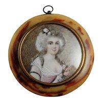 Georgian Jewelry Miniature Portrait Ormolu Pressed Horn Portrait Miniature Marie Antoinette Antique Portrait Painting 18th Century Wig Gilt Dress Antique Victorian Sterling Silver Inlay Pendant for Necklace