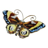 Life Like Butterfly Sterling Silver Mid Century Designer Hand Made Enamel Pin Brooch