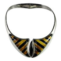 Modernist Fine Sterling Silver Choker Collar Necklace Nefertiti Egyptian Revival Cleopatra Inlay Inlaid Handmade Hand Made Unique One of a kind Onyx Tigers Eye Necklace Collar Hand Made Custom Retro Estate Fine Hinged Chunky Statement