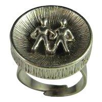 Modernist Sterling Silver Ring 1950s 1960s 1970s Mid Century Designer 925 Astrology Designer Signed Gemini Modernist Retro 1970s Designer Fine Vintage Hand made Sterling Silver Ring Astrological