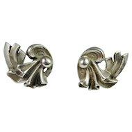 Great Gatsby Silver Earrings 925 Sterling Screw On Screw Back Earrings Art Deco Jewelry circa 1930 Hand Made Sterling Silver Fan Scroll Motif Screw Back Stud Style Fine Earrings 1920s 1940s Downton Abbey
