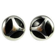 Button Silver Earrings Onyx Inlay Sterling Silver Earrings 925 Dome Earrings Modernist Designer Handmade Fine Sterling Silver Vintage Earrings Clip On 1980s Mexican Silver Large Chunky Statement Non Pierced Ear Clips Vintage Fine Unique One of a Kind
