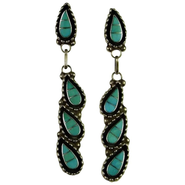 Turquoise Silver Earrings Inlaid Inlay Sterling Designer Signed Vintage Native American Indian Drop