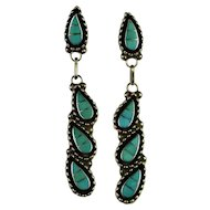 Turquoise Silver Earrings Inlaid Inlay Turquoise Earrings Sterling Silver Designer Signed Vintage Native American Indian Drop Dangle Chandelier Paisley Niello Zuni 1970s Handmade Unique One of a Kind