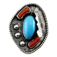 Large Turquoise Ring Statement Ring Navajo Ring Navajo Jewelry Natural Red Coral Ring Native American Ring Old Pawn Turquoise Jewelry Silver Statement Large Big Artisan Studio One of a Kind Unisex