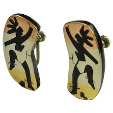 Mixed Metal Silver Earrings Dancers Onyx Inlay Mid Century Fine 1950s Mixed Metal Inlay Retro Hand Made Sterling Silver Modernist Earrings Screw On Screw Back Non Pierced Mexican Silver Vintage