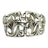 Art Deco Sterling Silver Bangle Bracelet Tennis Line 925 Handmade Hand Made Sterling Silver Bangle Bracelet 1930s 1940s Unique Scroll Motif Jewelry Downton Abbey Great Gatsby