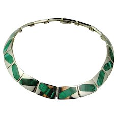Nefertiti Collar Choker Necklace Sterling Silver Malachite 925 Inlay Inlaid Astonishing Custom Made Designer Collar Necklace Fine Malachite Precious Sterling Silver Signed On of a Kind Green One of a Kind Fine Estate Classic Timeless Handmade