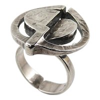 Mid Century Sterling Silver Ring 925 Signet Seal Statement Sculptural 1950s 1960s 1970s Retro Estate Iconic Amazing Futuristic Modernist Designer One of a Kind Sterling Silver Mid Century Retro Ring
