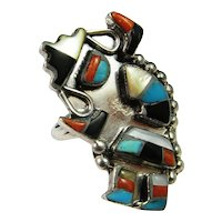 Fine Custom Vintage Rainbow Dancer Hand Made Southwestern American Indian Sterling Silver Inlay Ring Hand Made 925