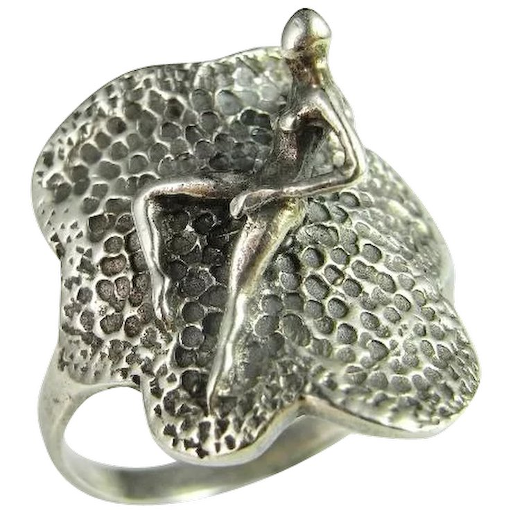 Erotic Jewelry Unique Handmade Mid Century Sterling Silver Ring