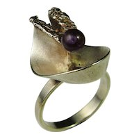Amethyst Sterling Silver Ring 925 Gorgeous Scandinavian Designer Amethyst Cabochon and Precious Sterling Silver Designer Mid Century Modernist 925 Ring Signed Unique One of a Kind 1970s Oly Relo Teka Iconic