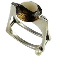 Smoky Quartz Silver Bracelet Silver Cuff Bangle Cuff Bracelet Statement Bracelet Modernist Bracelet 1950s Jewelry Chunky Bangle Sterling Huge Large Chunky 1960s 1970s