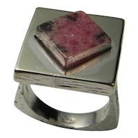 Signet Sterling Silver Ring 925 1970s Minimalist Seal Iconic Classic Unique Modernist Rhodonite Mid Century Hand Made Fine Silver Ring Custom Designer 1950s 1960s Fine Retro Statement Chunky Classic Vintage Geometric Square Handmade Unisex Jewelry