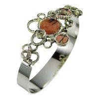 Rhodonite Bracelet Rhodonite Jewelry Vintage Silver Cuff Bangle Bracelet Modernist Bracelet 1970s Jewelry Handmade Bracelet Unique