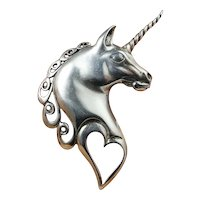 Unicorn Designer Hand Made Signed Precious Sterling Silver Vintage Pin Brooch Love Heart