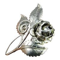 Old English Country Rose Hand Made Mid Century 1950s Estate Flower Floral Brooch Pin Fine Sterling Silver