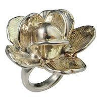 Flower Sterling Silver Ring Chunky Statement Floral Rose Daisy Bouquet Wedding Bridal Exuberant Large Fine Sterling Silver Rose Ring Custom Made Hand Crafted 925 925S