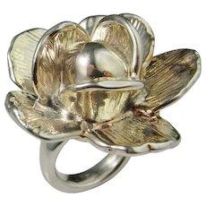 Big Vintage Flower Rose Silver Statement Ring