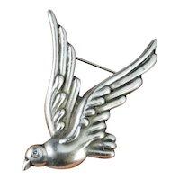 Art Deco Dove Sterling Silver Pin Brooch Pretty Classic Designer Dove Los Castillo Bird Peace Hand Made Signed Brooch Pin 1940s Downton Abbey Great Gatsby Rare