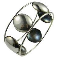 Modernist Sterling Silver Bangle Bracelet 925 Handmade Mid Century Minimalist Chumky Statement Simple Classic Timeless 1950s 1960s 1970s Hand Made Bangle Circle Jewelry Wide Bracelet