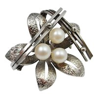 Astonishing Rare Mid Century 1950s Modernist Hand Crafted Custom Fine Sterling Silver Pearls Floral One of a Kind Pin Brooch