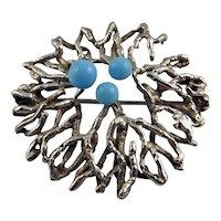 Hermann Siersbol Turquoise Brooch Paste Jewelry Glass Brooch Designer Brooch Modernist Jewelry Mid Century Jewelry Minimalist Jewelry Silver