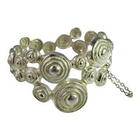 Spiral Minimalist Bracelet Modernist Jewelry 1970s Jewelry Designer Jewelry Sterling Silver Bangle Artisan Jewelry Abstract Jewelry Retro